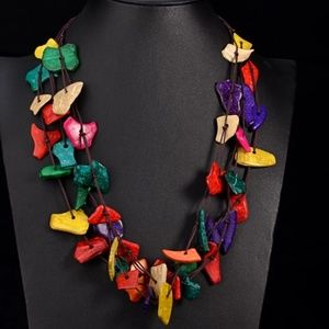 Jewelry - Boho multicolor wood statement necklace
